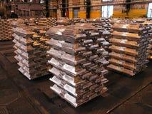 Aluminium ingots. Storage aluminium ingots in metallurgical workshop horizontal royalty free stock images