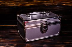Aluminium make-up case or jewellery accessories box Royalty Free Stock Photography