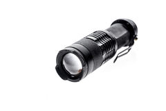 Aluminium metal LED flashlight torch isolated on white backgroun Royalty Free Stock Image