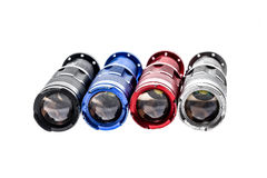 Aluminium metal LED flashlight torch isolated on white backgroun Royalty Free Stock Photo