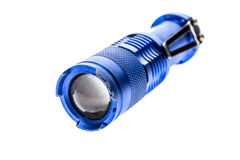 Aluminium metal LED flashlight torch isolated on white backgroun Royalty Free Stock Photography