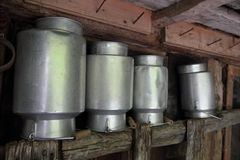 Aluminium milk cans Stock Photo