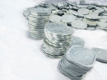 Aluminium old coins..lost in time. Royalty Free Stock Photo