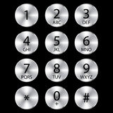 Aluminium phone circle buttons Stock Photo