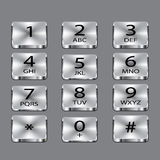 Aluminium phone square buttons on gray background. Vector object Stock Photo