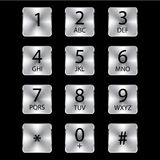 Aluminium phone square buttons. Vector object Royalty Free Stock Photo
