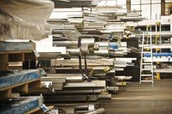 Aluminium pipe industrial storage Stock Image