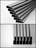 Aluminium profiles. Two close up photos of aluminium profiles Stock Photography