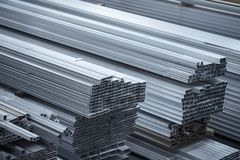 Aluminium profiles for constructions. Aluminum constructions factory Royalty Free Stock Photography