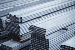 Aluminium profiles for constructions. Aluminum constructions factory Royalty Free Stock Photos