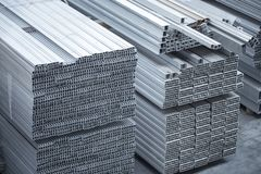 Aluminium profiles for constructions. Aluminum constructions factory Stock Photo