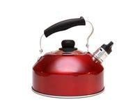 aluminium röd teapot Royaltyfri Foto