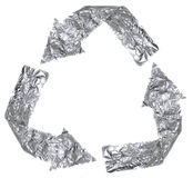 Aluminium Recycle Symbol. The recycle symbol made out of aluminium Stock Image