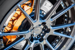 Aluminium rim. Aluminum wheel of a Nissan GTR caliper Royalty Free Stock Image