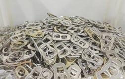 Aluminium ring pull caps Stock Photo