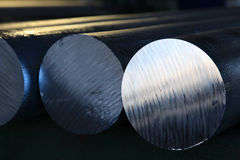 Aluminium rods. Made from recycled aluminium. Used for manufacturing of tool and die making products Stock Images