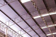 Aluminium roof of the factory. Aluminium roof with stainless structure and transparent glass for daylight to save electric power Royalty Free Stock Images