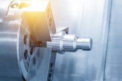 The aluminium screw  thread on the CNC lathe Royalty Free Stock Images