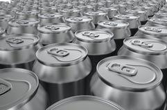 Aluminium sodavattencans för Closeup illustration 3d Royaltyfria Bilder
