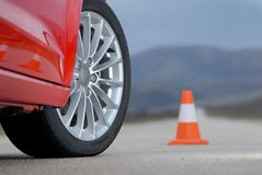 Aluminium sport wheel and cone Stock Photography