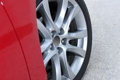 Aluminium sport wheel detail Stock Photo