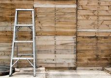 aluminium stair step and wood panel Royalty Free Stock Photos
