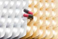 Aluminium strips of medical pills with capsules Royalty Free Stock Photos