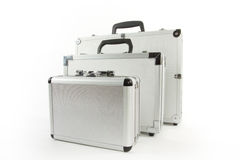 Aluminium suitcases Royalty Free Stock Photography