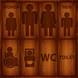 Aluminium Toilet Sign. Men and Women WC plate. With text, vector illustration in .CS and .EPS10. Contain transparency Stock Images