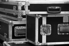 Aluminium träflygfall för discjockeyasken, instrument Arkivbilder