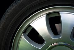 Aluminium wheel and tire. Royalty Free Stock Photo