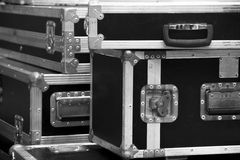 Aluminium wooden flight case for DJ box, instrument Stock Images