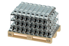 Aluminiumbaren op pallet Royalty-vrije Stock Fotografie