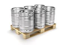 Aluminiumbierfässer auf einer Illustration der Speicherpalette 3d Lizenzfreies Stockfoto