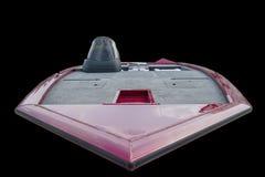 Aluminiumboot op zwarte achtergrond stock foto's