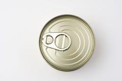 Aluminiumdose, in Büchsen konservierte Nahrung getrennt über Weiß Lizenzfreie Stockfotos
