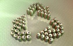 Aluminiumdosen, die das Recycling-Symbol bilden Lizenzfreies Stockbild