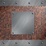 Aluminiumfeld und perforiertes Metall mit Lava Lizenzfreies Stockfoto
