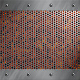 Aluminiumfeld und perforiertes Metall mit Lava Stockfotos