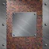 Aluminiumfeld und perforiertes Metall mit Lava Stockfotografie