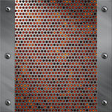 Aluminiumfeld und perforiertes Metall mit Lava Lizenzfreie Stockfotografie