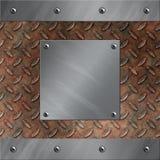 Aluminiumfeld und verrostetes Diamantmetall Stockfoto