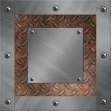 Aluminiumfeld und verrostetes Diamantmetall Stockbilder