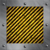Aluminiumfeld und warnende Streifen Stockfotografie