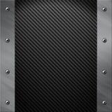 Aluminiumfeld verriegelte an eine graue Kohlenstofffaser Lizenzfreie Stockbilder
