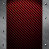 Aluminiumfeld verriegelte an eine rote Kohlenstofffaser Lizenzfreie Stockbilder