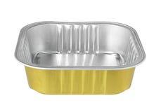 Aluminiumfolie-Essenstablett lokalisiert auf weißem Hintergrund Lizenzfreies Stockfoto