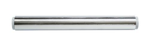 Aluminiumfolie för stekhet och stekhet närbild Rulle av matfolie, bästa sikt Slå in matfolie som isoleras på en vit bakgrund royaltyfri bild