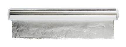 Aluminiumfolie för stekhet och stekhet närbild Rulle av matfolie, bästa sikt Slå in matfolie som isoleras på en vit bakgrund arkivbild