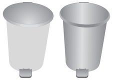 Aluminiumstauraum und Abfalldose Stockfoto